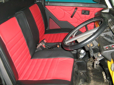 Black and red car upholstery