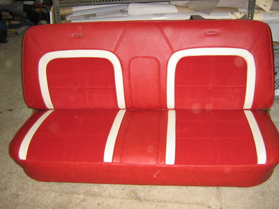 Large red bench seats