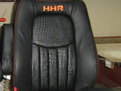 Black and orange bucket seat